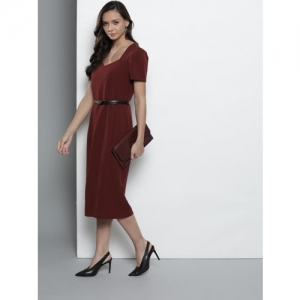 DOROTHY PERKINS Women Burgundy Solid Sheath Dress
