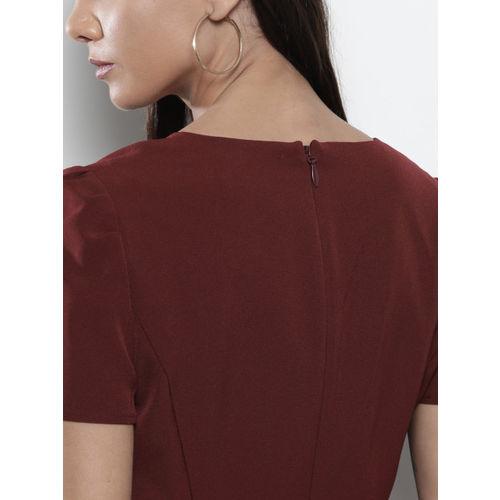 DOROTHY PERKINS Women Burgundy Solid Sheath Dress