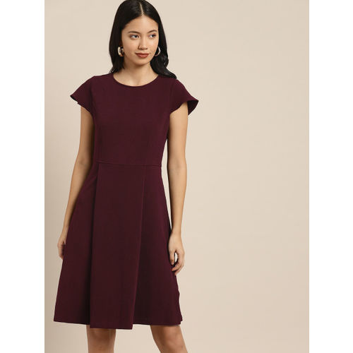 her by invictus Women Burgundy Solid Fit and Flare Dress