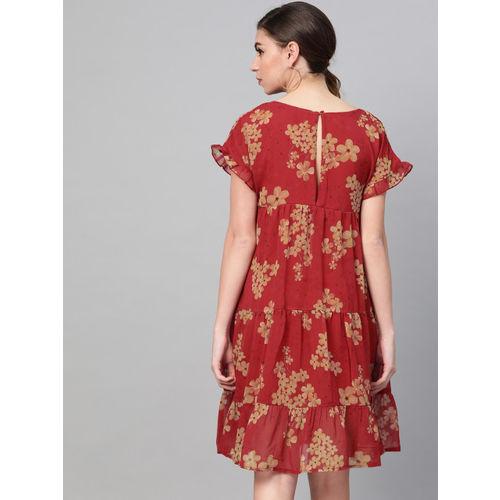 SASSAFRAS Women Red & Beige Floral Printed Tiered A-Line Dress