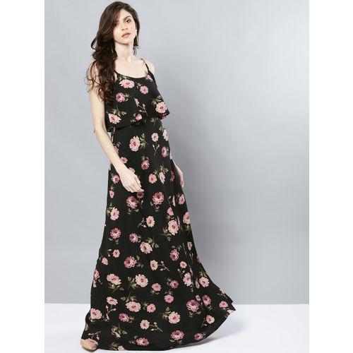 Harpa Women Black & Pink Floral Print Layered Maxi Dress