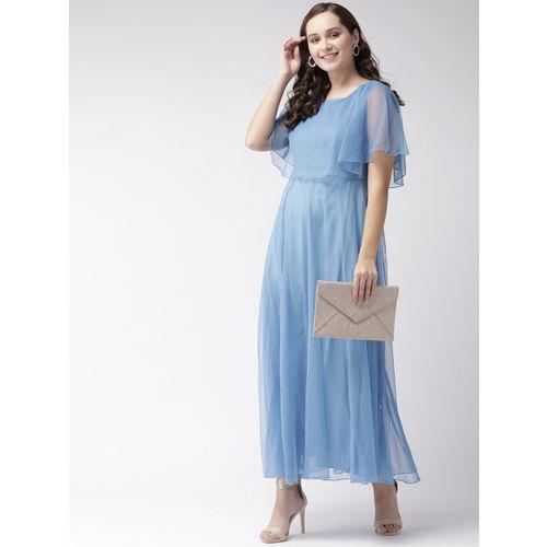 U&F Women Blue Solid Layered Maxi Dress