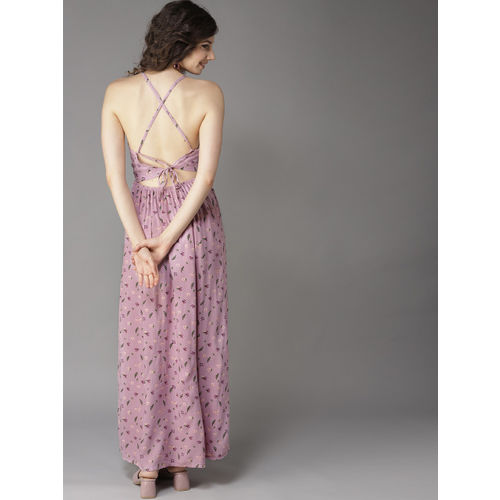 HERE&NOW Women Lavender & Green Printed Maxi Dress