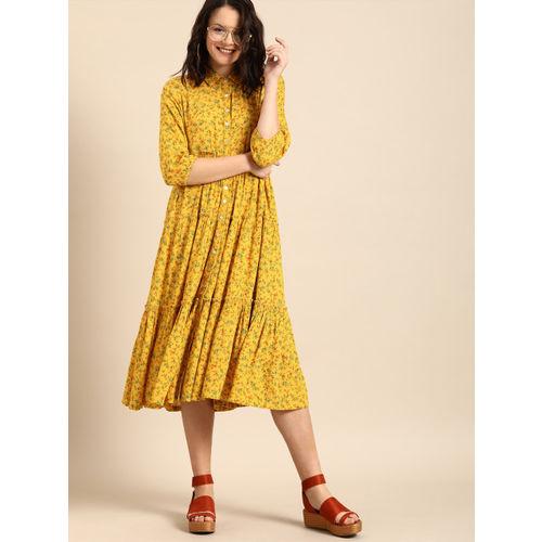 DressBerry Women Mustard Yellow Floral Print A-Line Midi Dress
