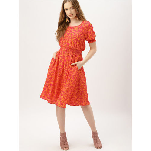 DressBerry Women Orange & Pink Floral Printed Fit and Flare Dress