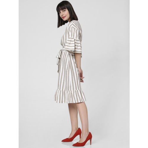 Vero Moda Women White & Brown Striped Fit and Flare Dress With Waist Tie-Ups