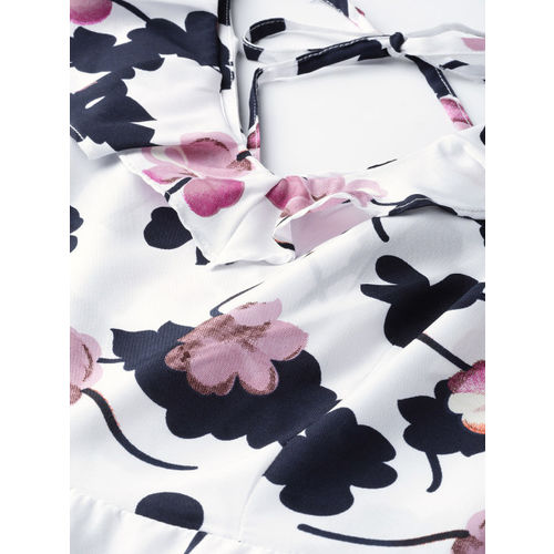 Mast & Harbour Women White & Navy Blue Floral Printed A-Line Dress