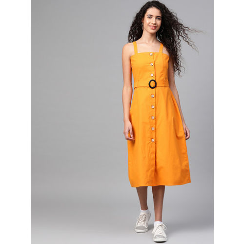 SASSAFRAS Women Mustard Yellow Solid Pinafore Dress