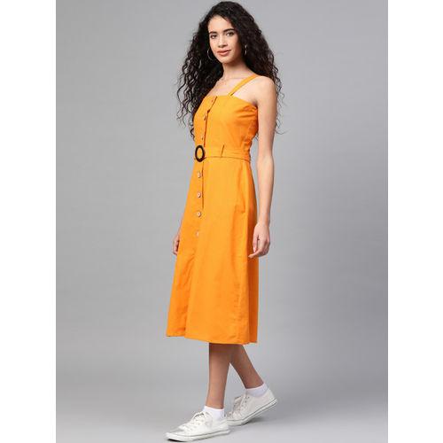 SASSAFRAS Women Mustard Yellow Solid Pinafore Dress