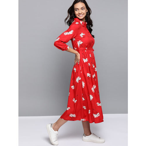 Mast & Harbour Women Red & Off-White Floral Printed Shirt Dress