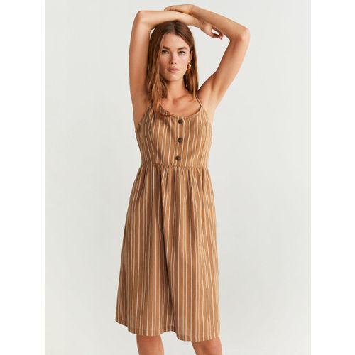MANGO Beige & White Striped Button Placket Dress