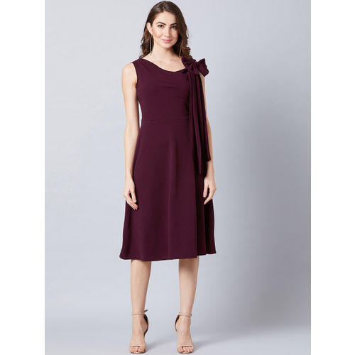 Athena Women Burgundy Solid Fit and Flare Dress