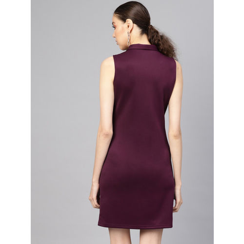 SASSAFRAS Women Burgundy Solid Wrap Dress