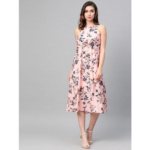 SASSAFRAS Women Pink& Black Printed A-Line Dress