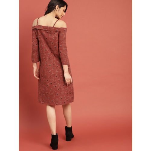 Taavi Women Rust Red Block Print Legacy A-Line Off-Shoulder Dress