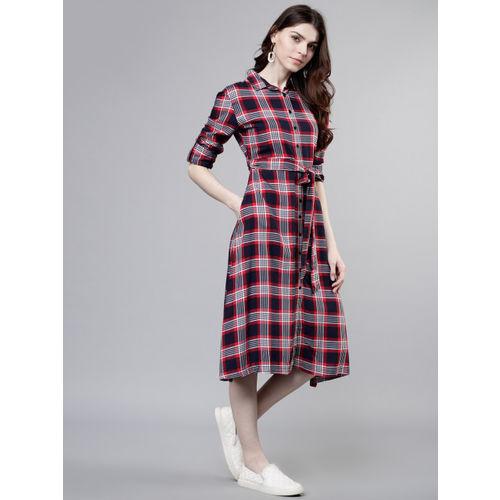 Tokyo Talkies Women Navy Blue Checked Shirt Dress