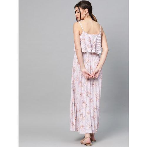 SASSAFRAS Women Beige & Lavender Printed Accordian Pleat Maxi Dress