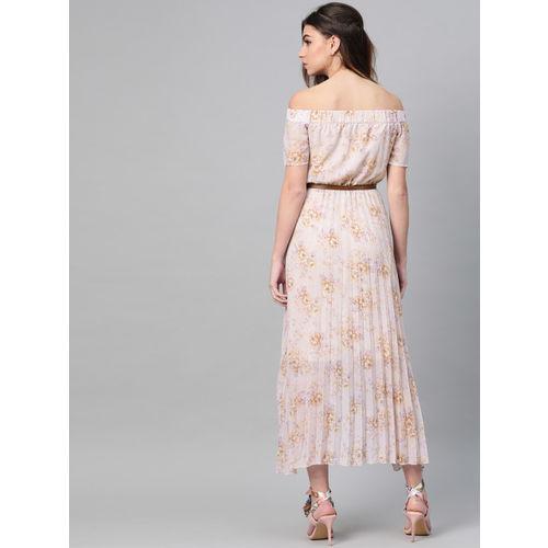 SASSAFRAS Women Lavender & Pink Printed Off-Shoulder Accordion Pleat Maxi Dress
