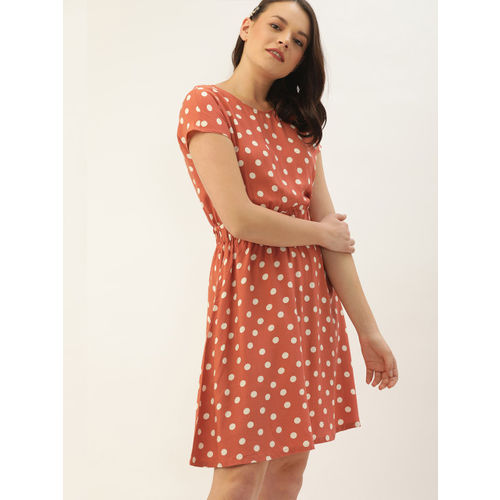 DressBerry Women Rust Orange & Off-White Printed Fit and Flare Polka Dot Dress