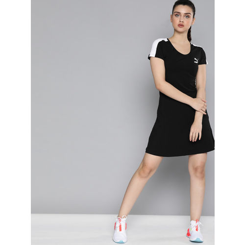 Puma Women Black Solid Classics Shortsleeve A-Line Dress With Printed Brand Logo Detail