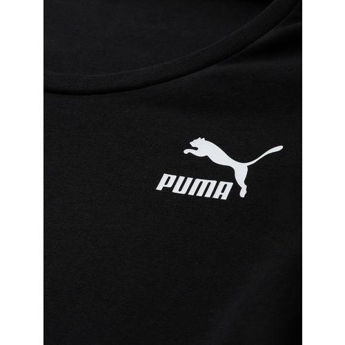 Puma Women Black Solid Classics Shortsleeve A-Line Dress With Printed Brand Logo Detail