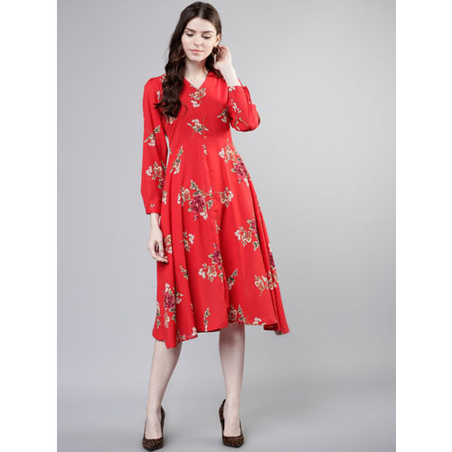 Tokyo Talkies Women Red Floral Print Fit and Flare Dress