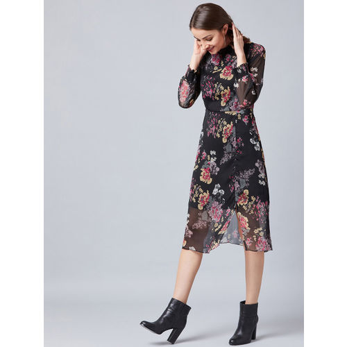 Athena Women Black Floral Print Fit and Flare Dress
