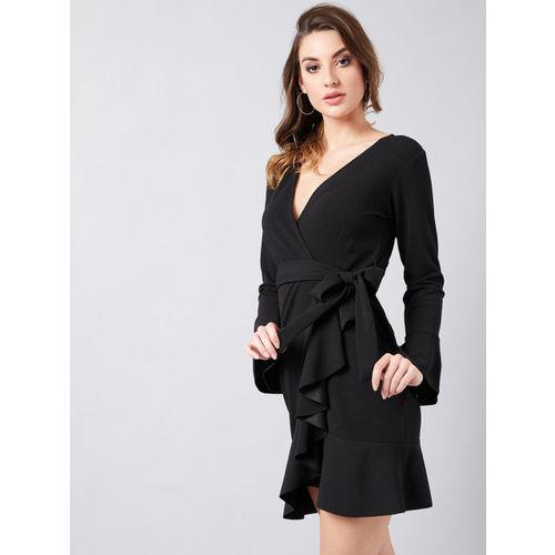 Athena Women Black Solid Wrap Dress