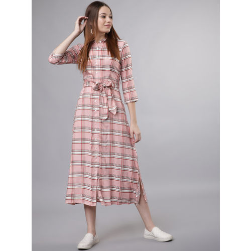 Tokyo Talkies Women Pink Checked Shirt Dress