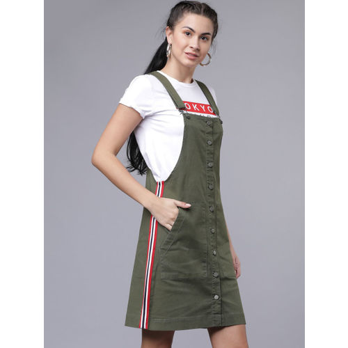 Tokyo Talkies Women Olive Green Solid Pinafore Dress
