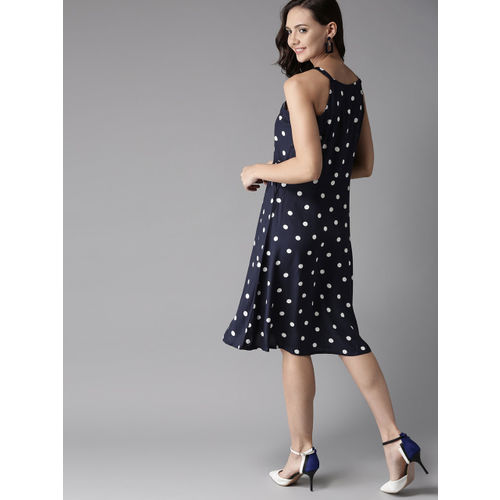 HERE&NOW Women Navy Blue & White Polka Dot Print Fit & Flare Dress