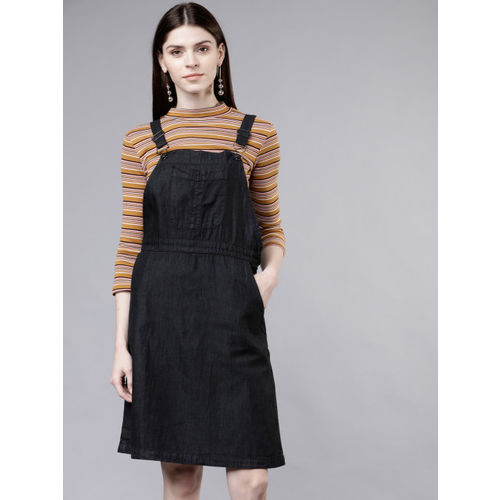 Tokyo Talkies Women Solid Black Pinafore Dress