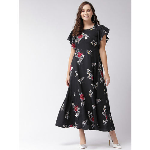 U&F Women Black & White Printed Maxi Dress