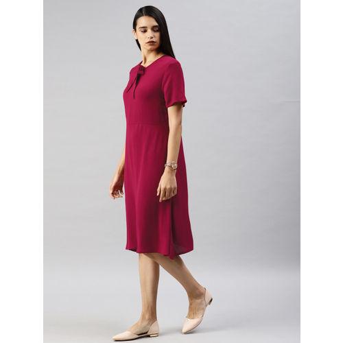 Van Heusen Woman Women Solid Maroon A-Line Dress
