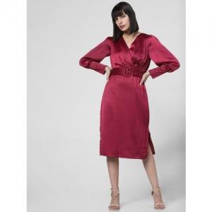 Vero Moda Women Maroon Solid Wrap Dress