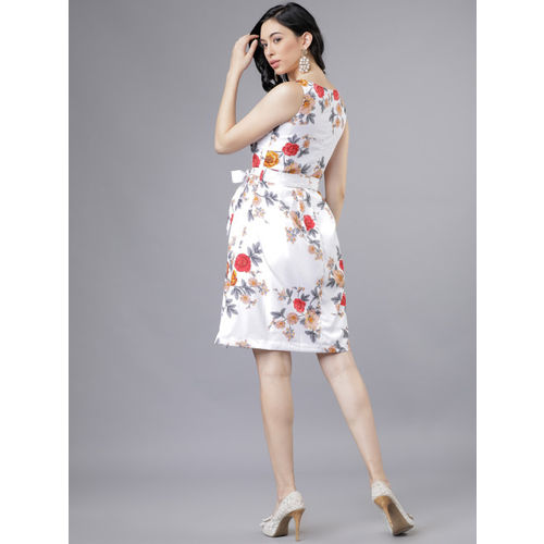 Tokyo Talkies Women Printed Off-White Fit and Flare Dress