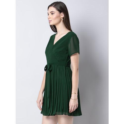 FabAlley Women Green Solid Wrap Dress