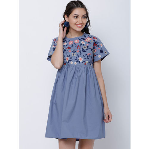 Tokyo Talkies Women Grey Printed Fit and Flare Dress