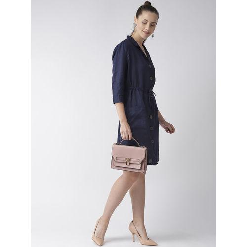 Marks & Spencer Women Navy Blue Linen Solid Shirt Dress