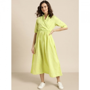 Sangria Women Lime Green Embroidered Detail Wrap Dress