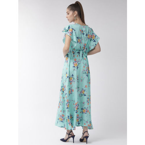 U&F Women Blue & Pink Printed Maxi Dress