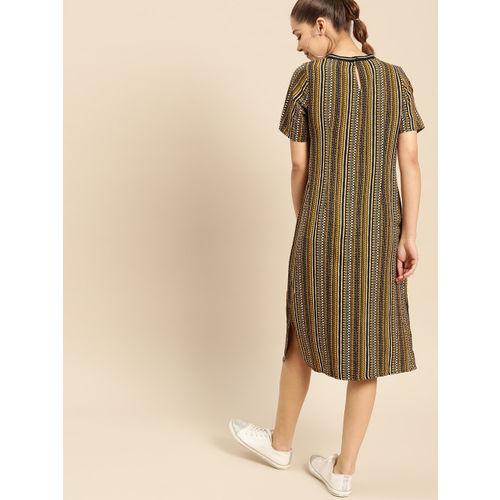 DressBerry Women Mustard Yellow & Black Printed A-Line Dress