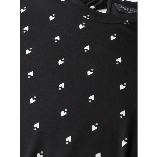 Marks & Spencer Women Black & White Heart Printed A-Line Dress