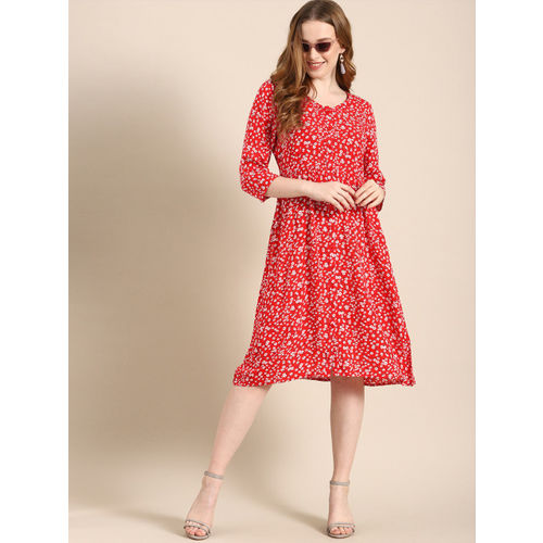 DressBerry Women Red & White Floral Printed Fit and Flare Dress