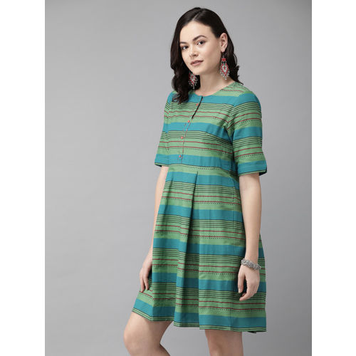 Anouk Women Green & Blue Striped A-Line Dress
