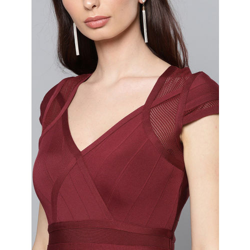 Label Ritu Kumar Women Maroon Self-Striped Sheath Dress