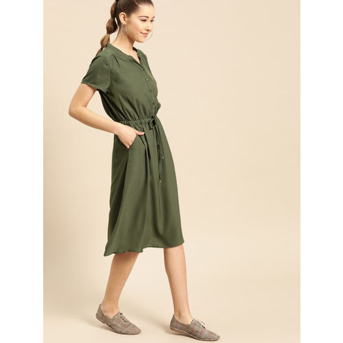 DressBerry Women Olive Green Solid A-Line Dress