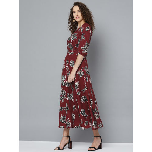 Marie Claire Women Maroon & Black Floral Printed Maxi Dress