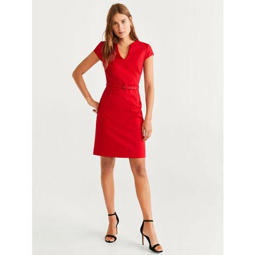 MANGO Women Red Solid Sheath Dress
