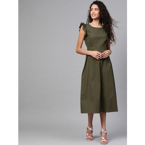 SASSAFRAS Women Olive Green Solid A-Line Dress